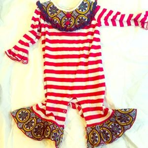 Three sisters one piece toddler ruffle set!